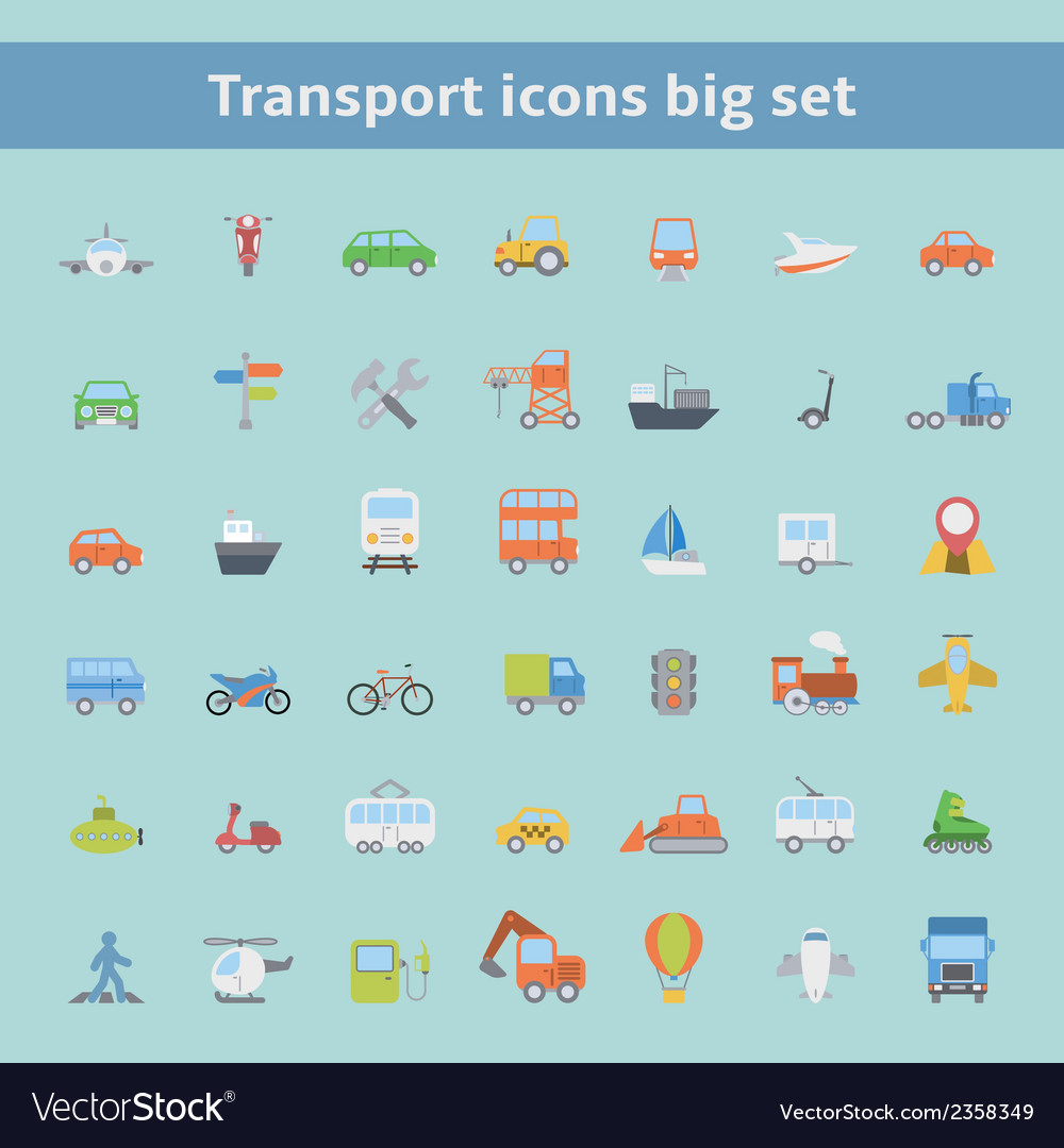 Set of flat transportation vehicles icons vector | Price: 1 Credit (USD $1)