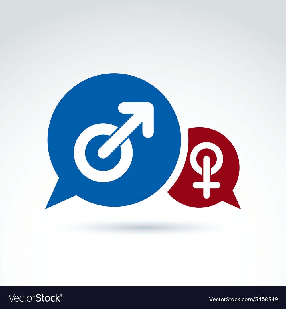 Speech bubbles with blue male and red female signs vector | Price: 1 Credit (USD $1)