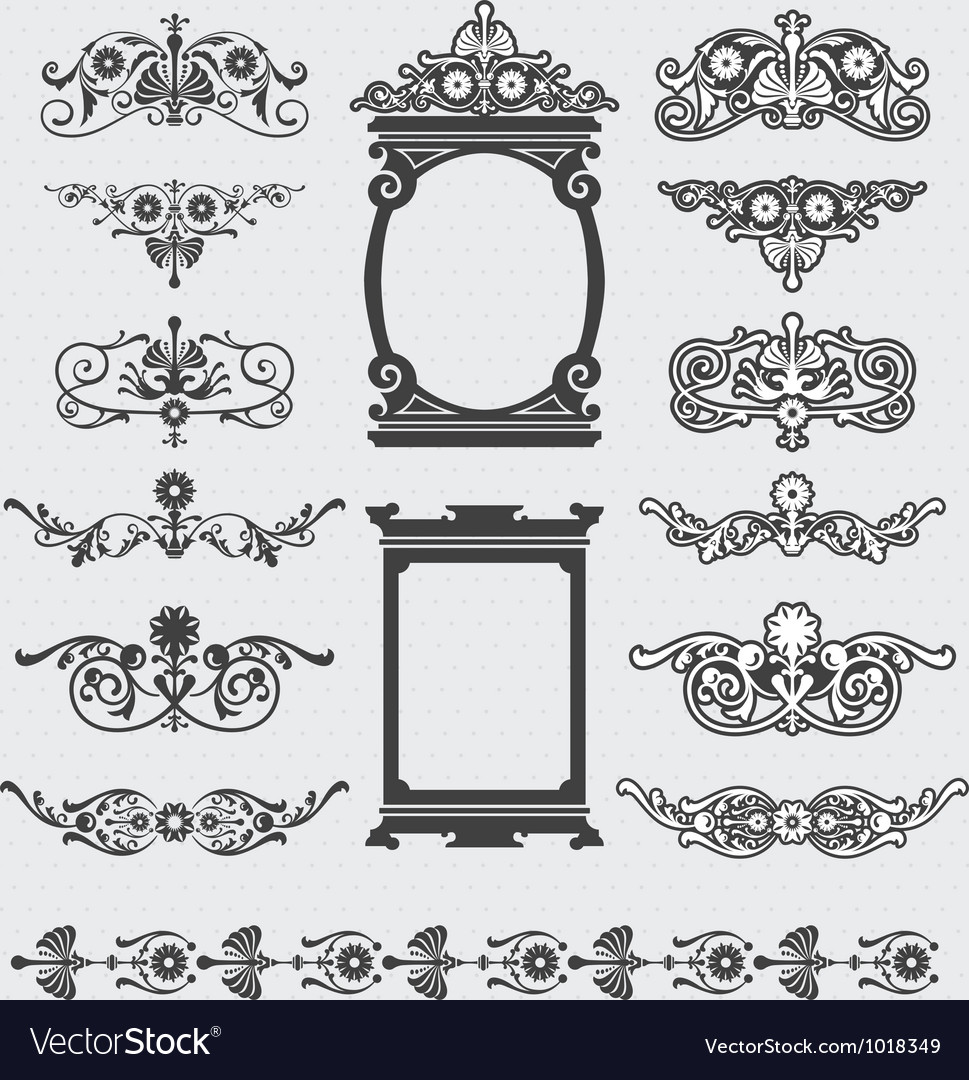 Vintage decorative scroll and background set vector | Price: 1 Credit (USD $1)