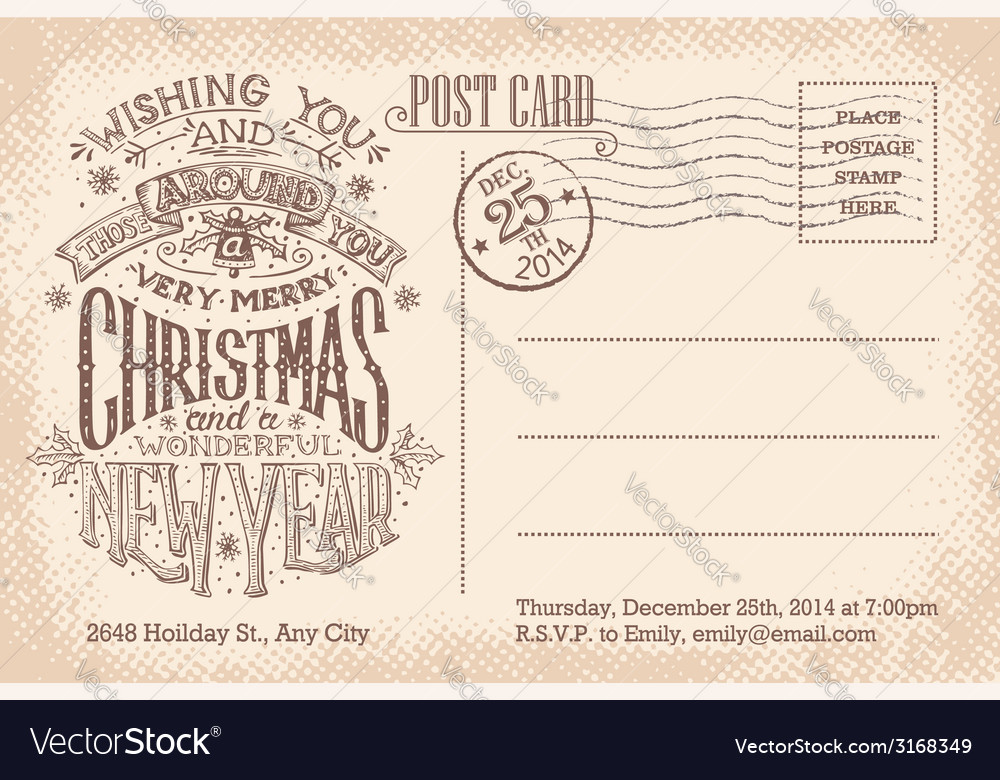 Vintage merry christmas and new year holiday vector   Price: 1 Credit (USD $1)
