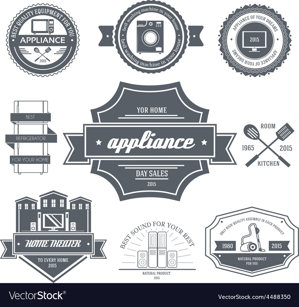 Appliances label template of emblem element for vector | Price: 1 Credit (USD $1)