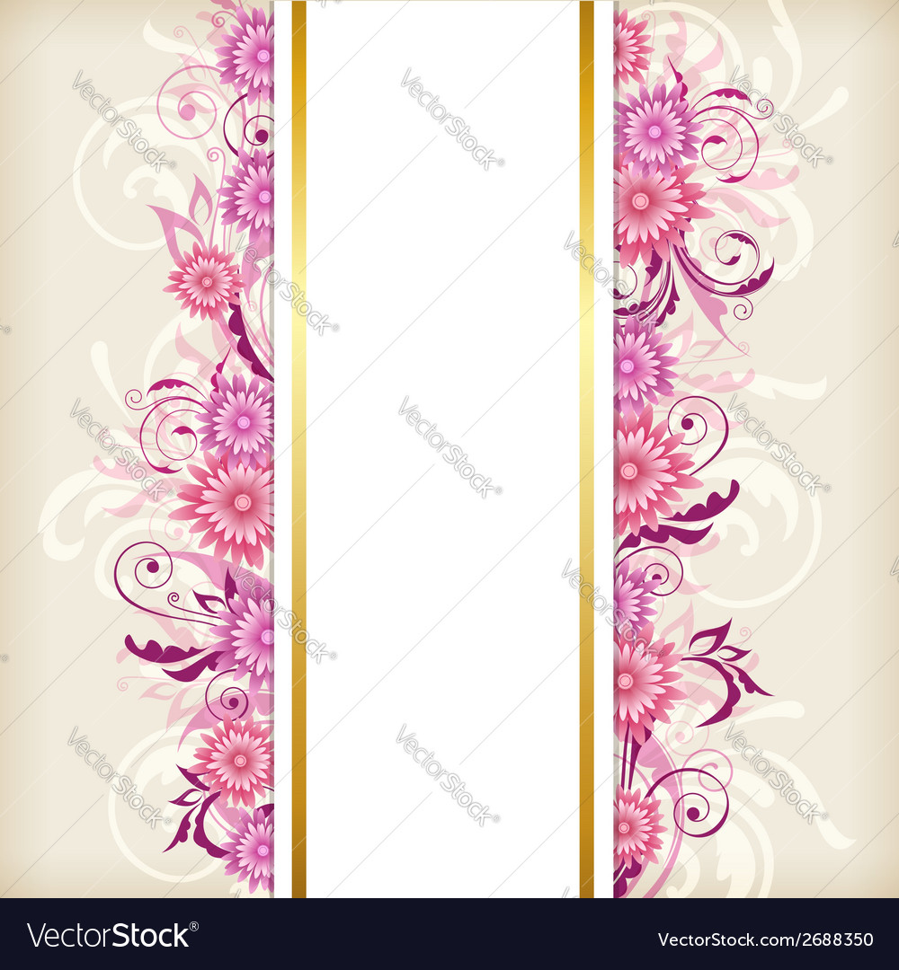 Banner with pink flowers vector