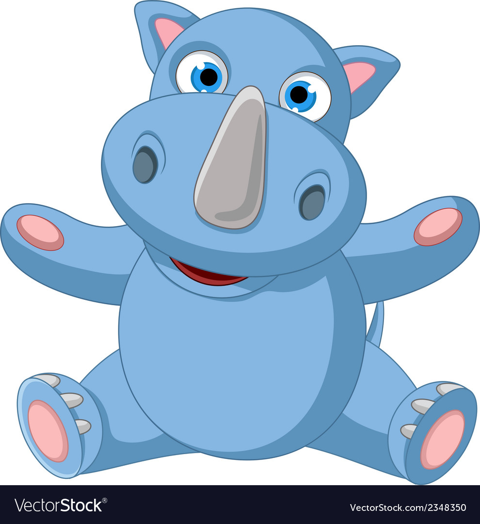 Happy baby rhino cartoon posing vector | Price: 1 Credit (USD $1)