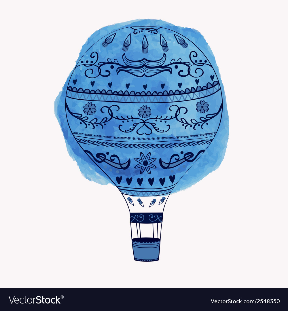 Hot air balloon with watercolor round ele vector | Price: 1 Credit (USD $1)
