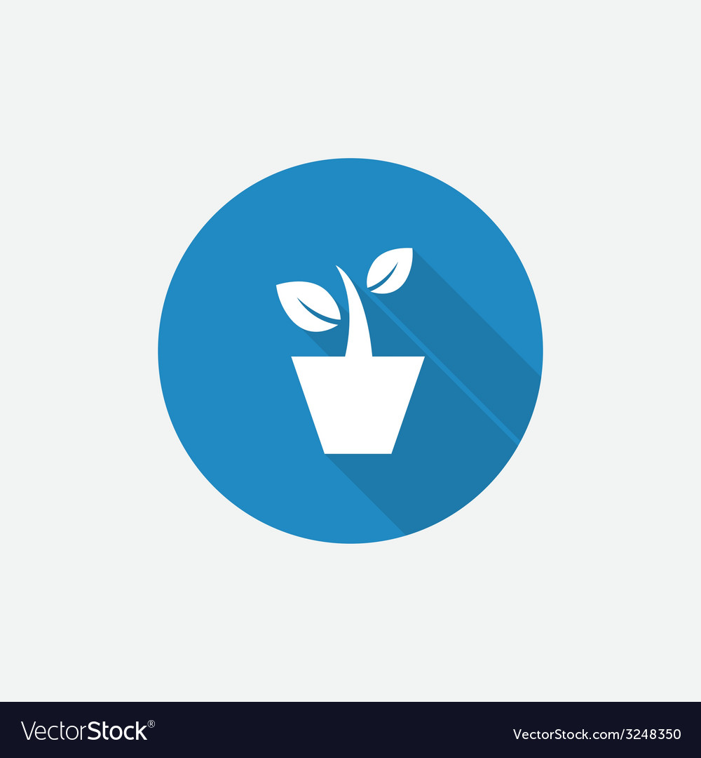 Houseplant flat blue simple icon with long shadow vector | Price: 1 Credit (USD $1)