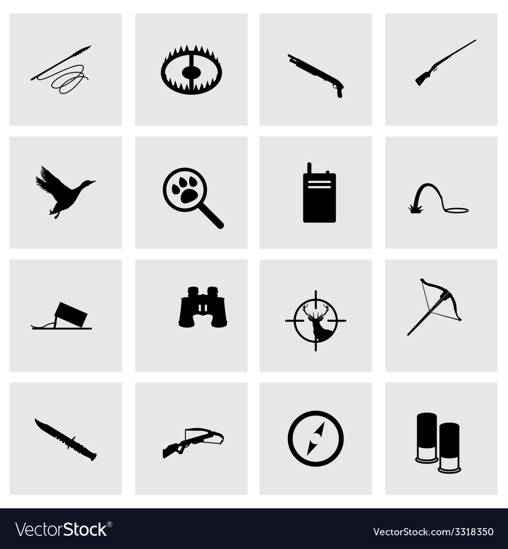Hunting icon set vector | Price: 1 Credit (USD $1)