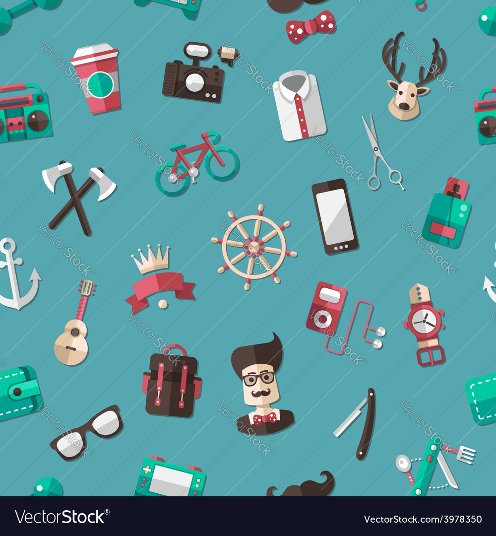 Pattern of modern flat design hipster vector | Price: 1 Credit (USD $1)
