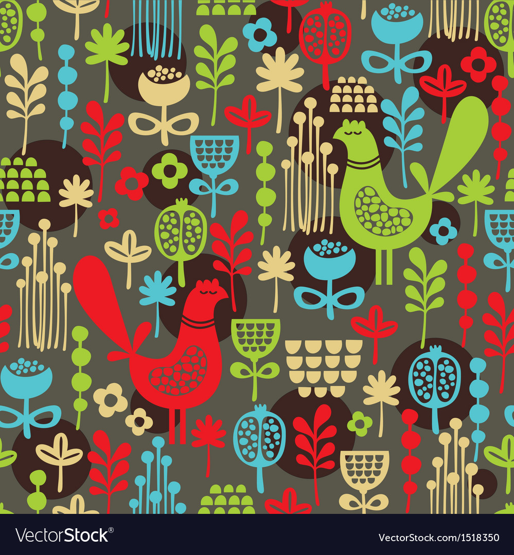 Pattern with cute birds and pretty flowers vector | Price: 1 Credit (USD $1)