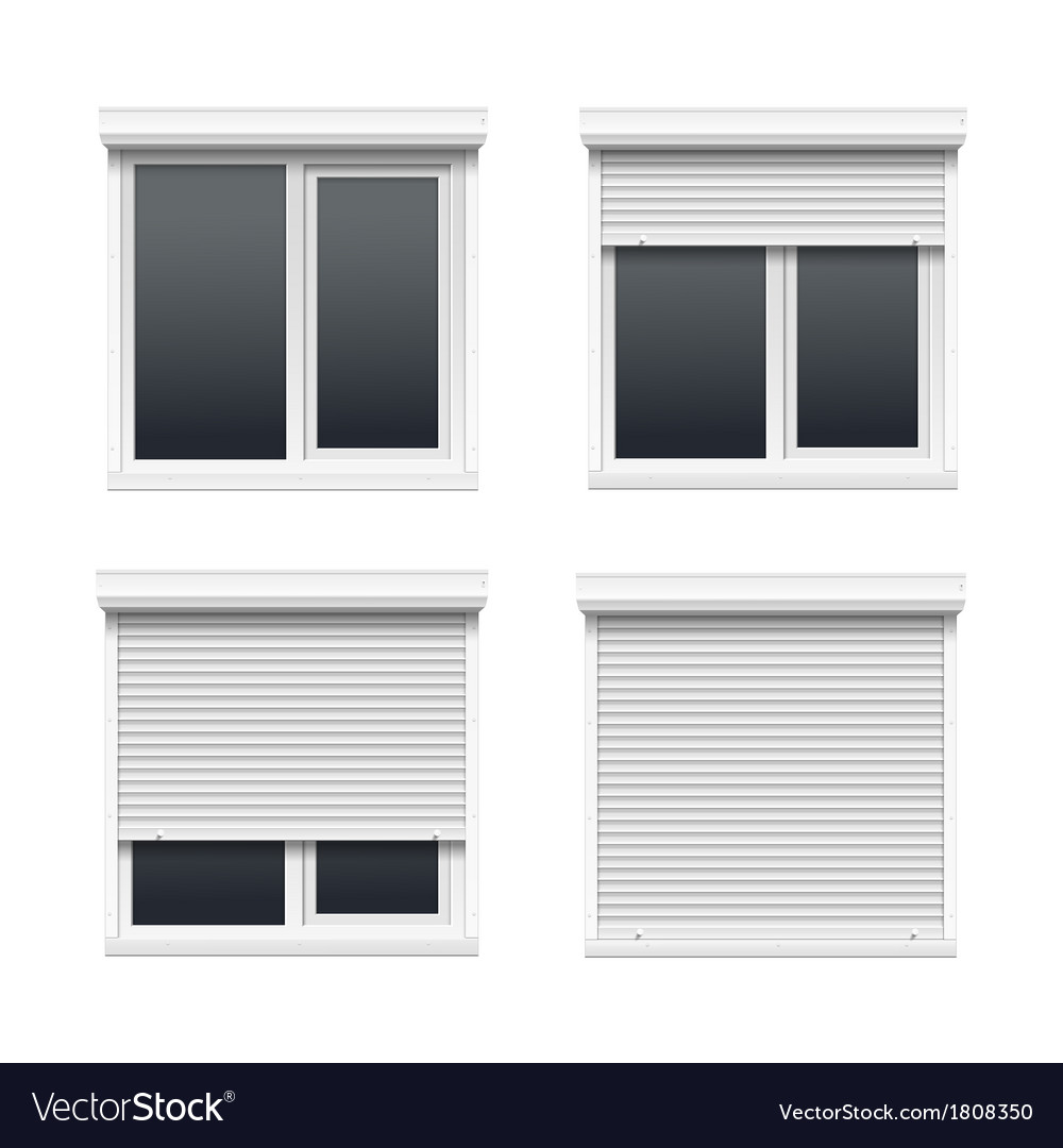 Set of windows with rolling shutters vector | Price: 1 Credit (USD $1)