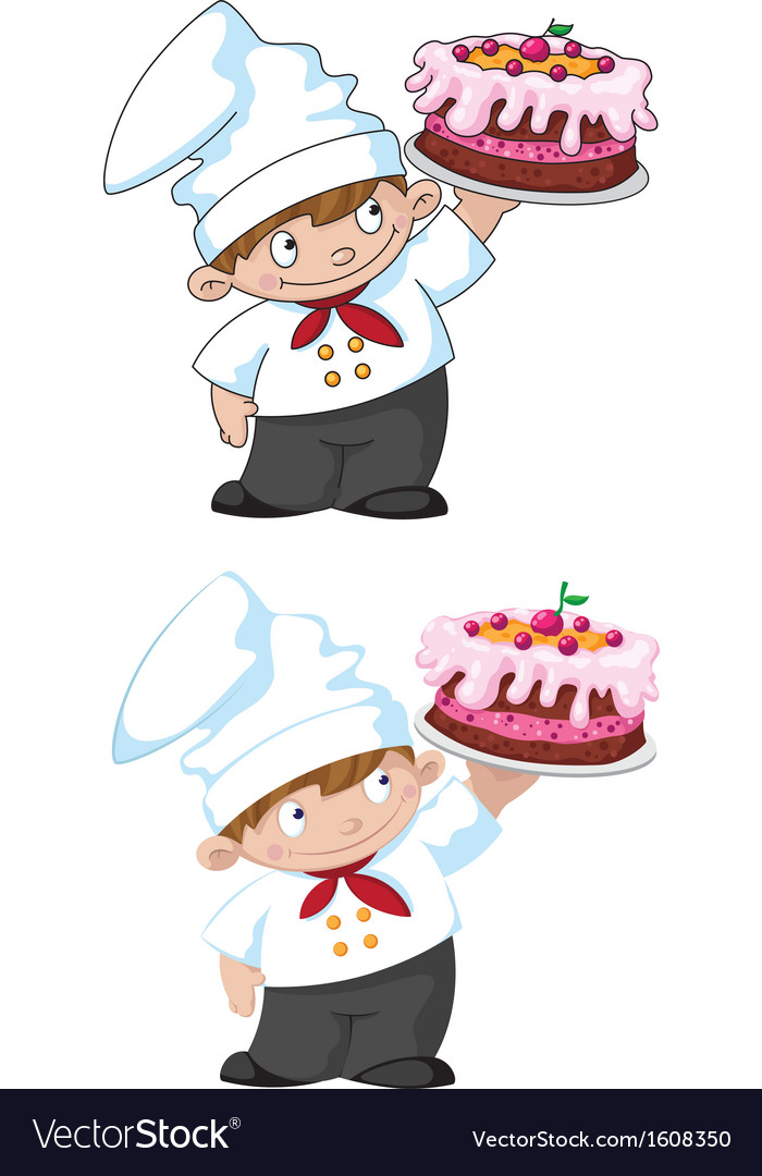 Small cook with cake vector | Price: 1 Credit (USD $1)