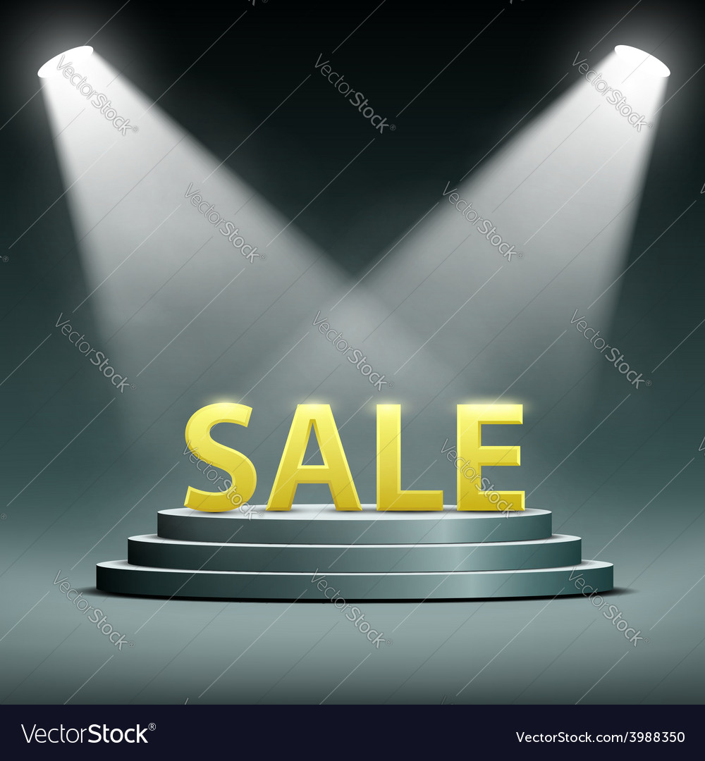 Word sale located on the podium and floodlit vector | Price: 1 Credit (USD $1)