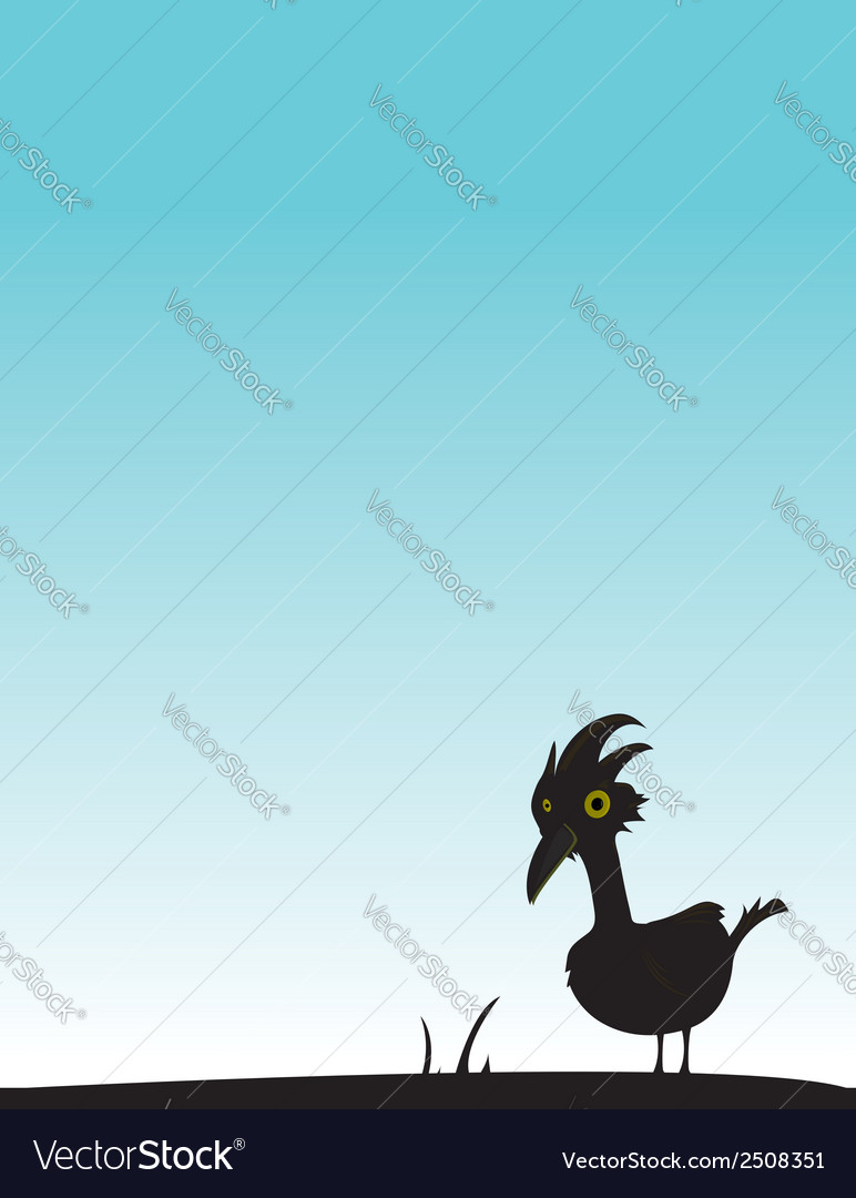 Black bird on blue background vector | Price: 1 Credit (USD $1)