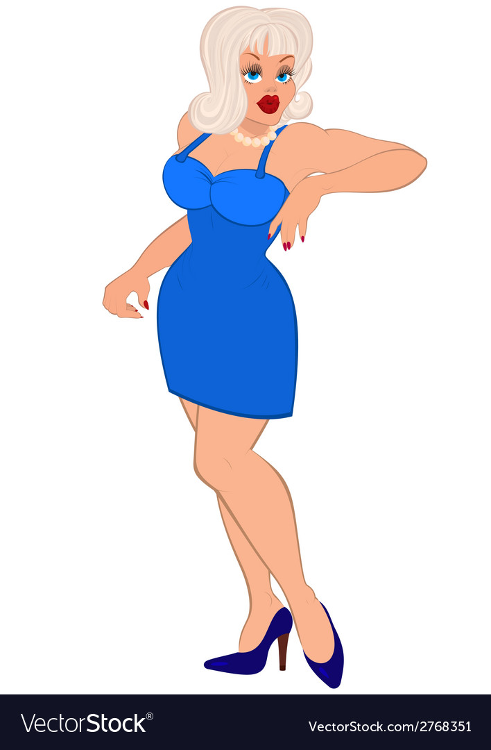 Cartoon sexy woman with white hair and in blue vector | Price: 1 Credit (USD $1)