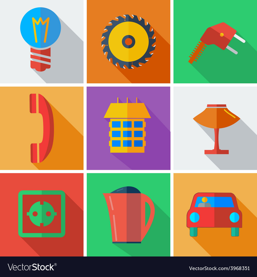 Collection modern flat icons home appliances with vector | Price: 1 Credit (USD $1)