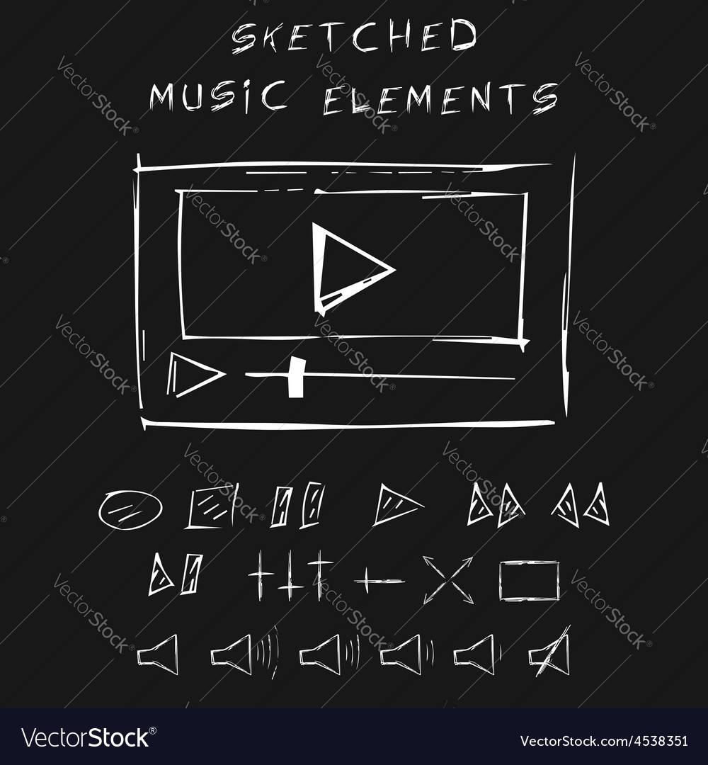 Doodle music elements set sketch design vector | Price: 1 Credit (USD $1)