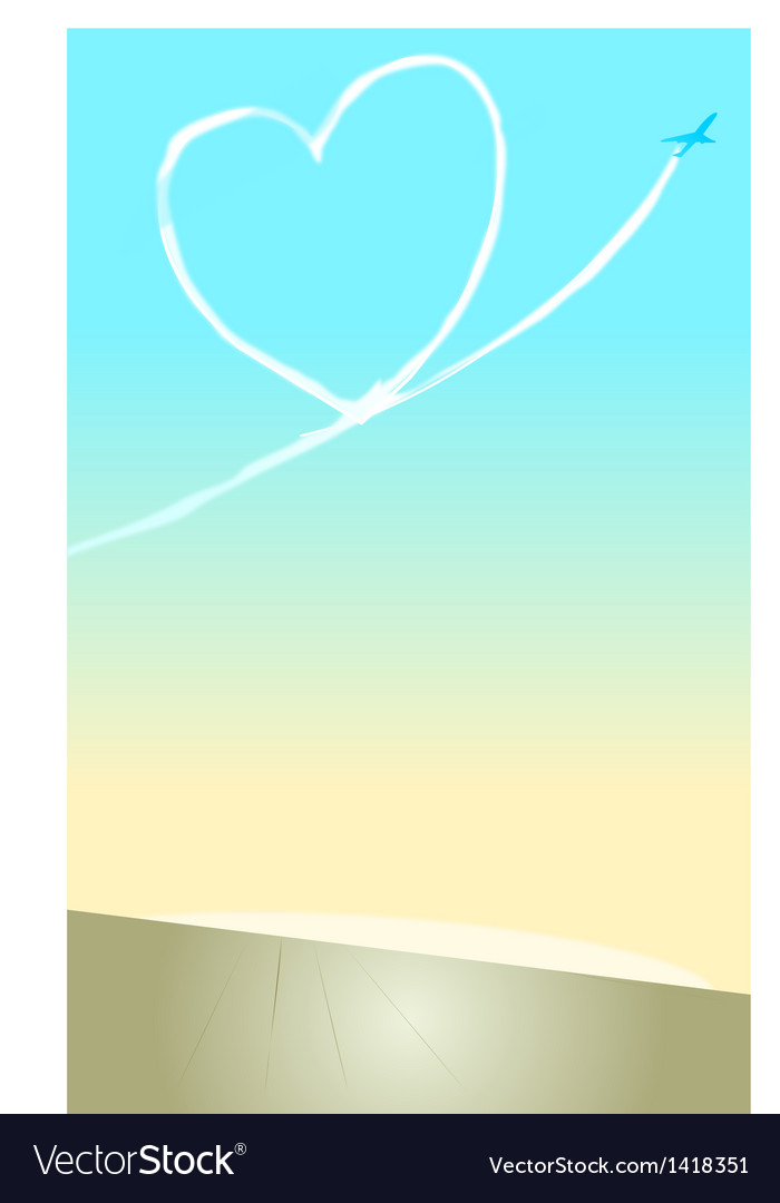 Heart-shaped contrail vector | Price: 1 Credit (USD $1)