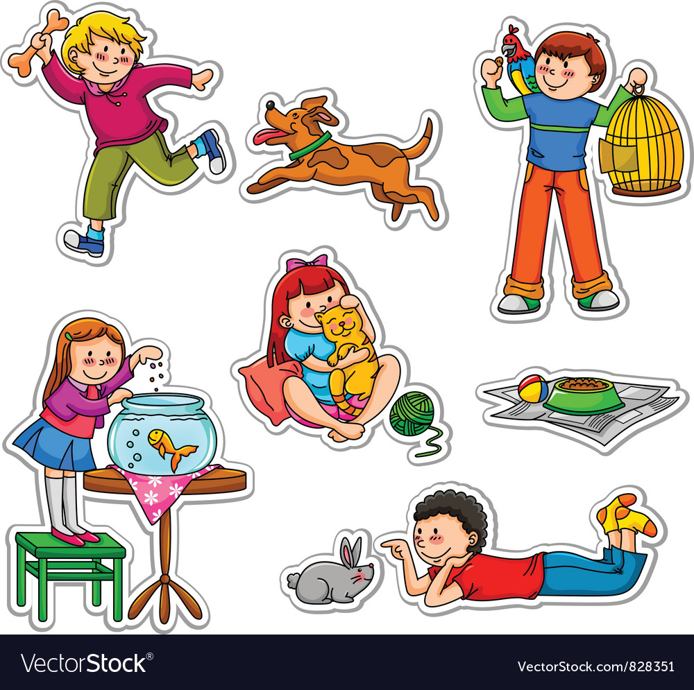 Kids and pets vector | Price: 3 Credit (USD $3)