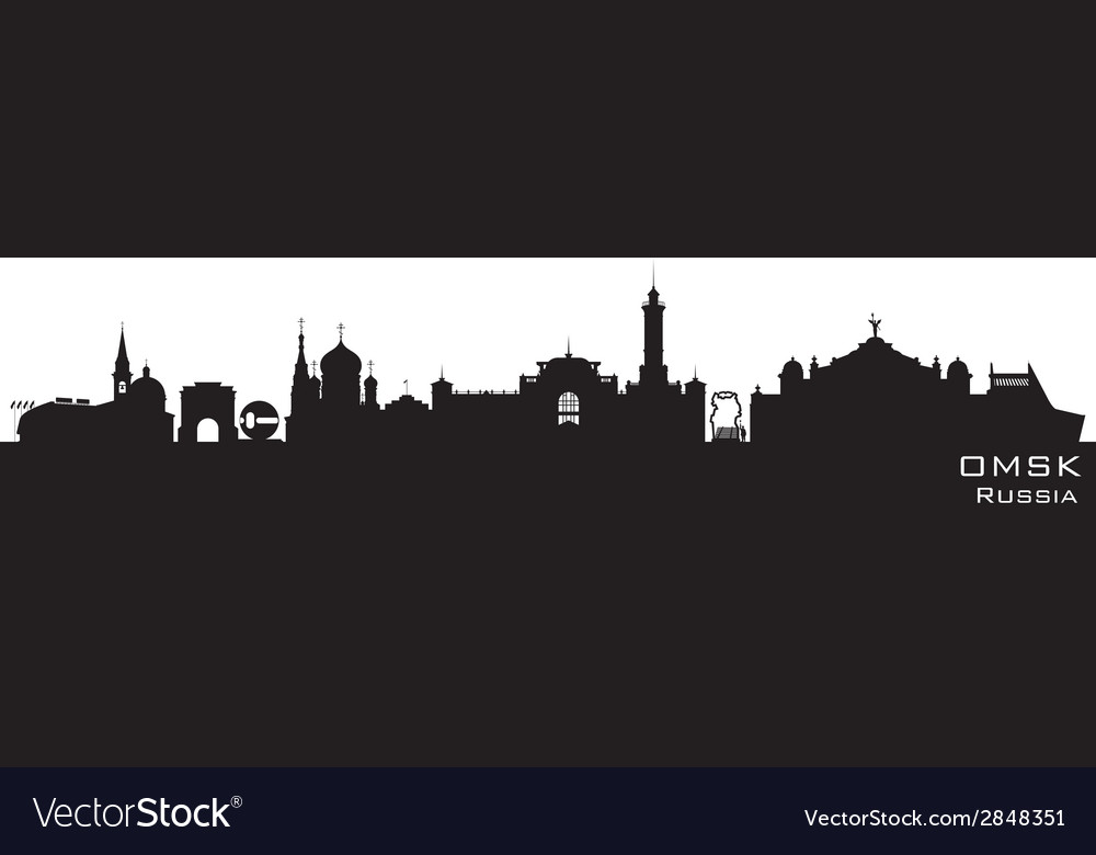 Omsk russia city skyline detailed silhouette vector | Price: 1 Credit (USD $1)