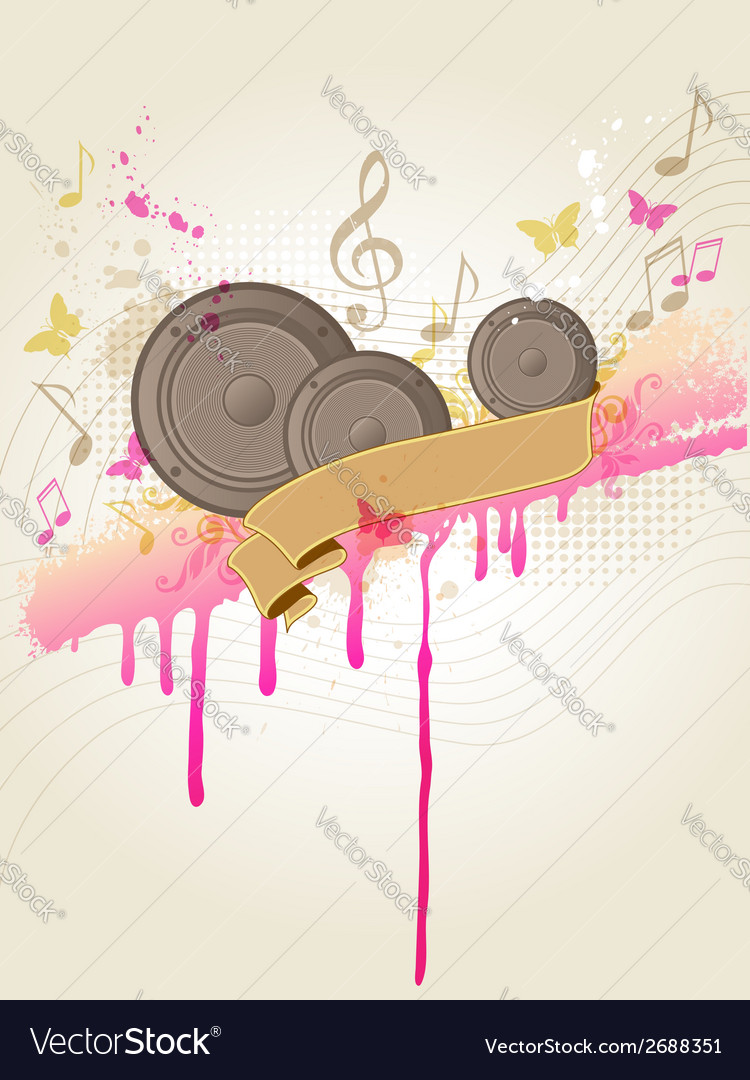 Retro music background with speakers vector | Price: 1 Credit (USD $1)