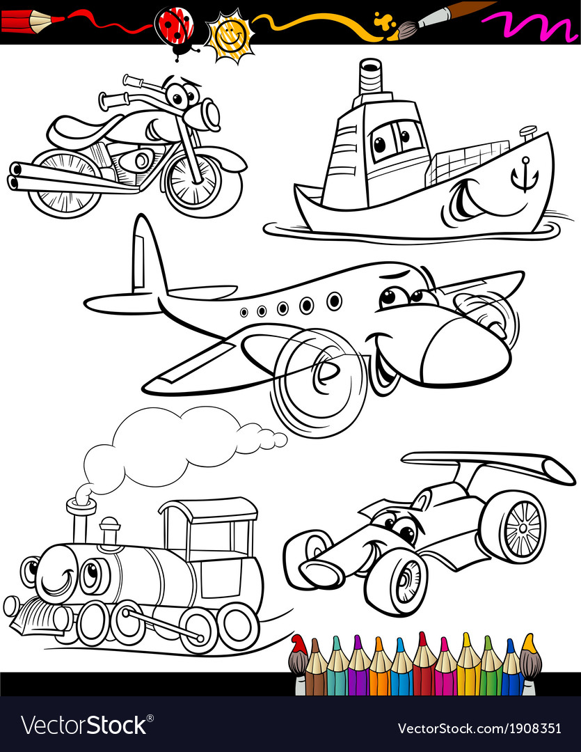 Transport set for coloring book vector | Price: 1 Credit (USD $1)
