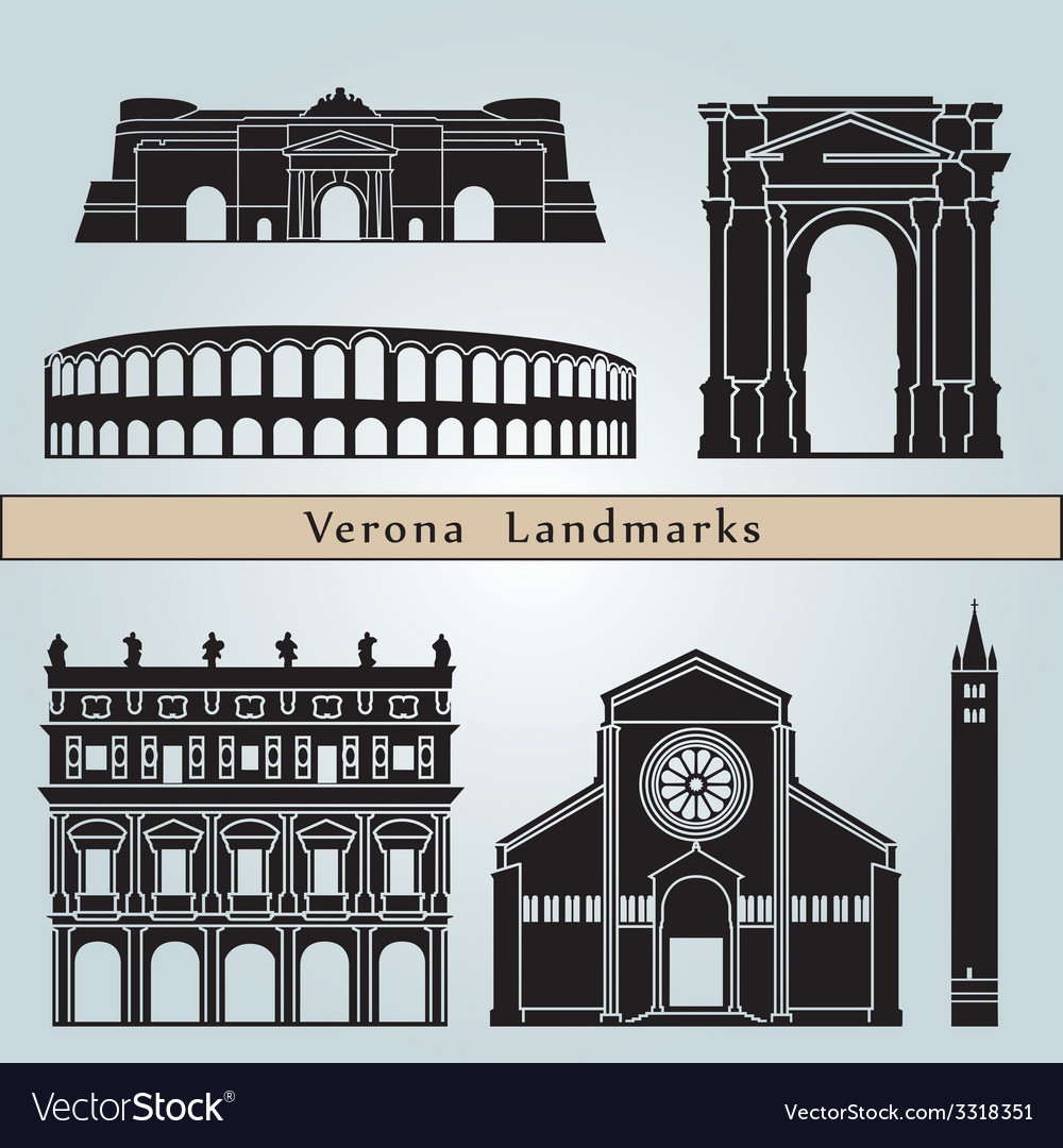 Verona landmarks and monuments vector | Price: 1 Credit (USD $1)