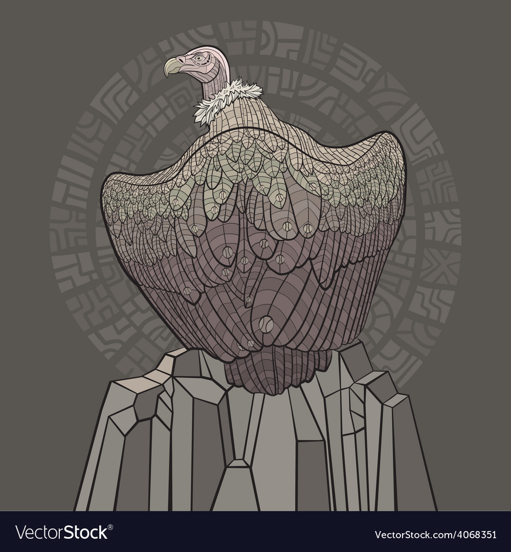 Vulture sitting on a rock vector | Price: 1 Credit (USD $1)