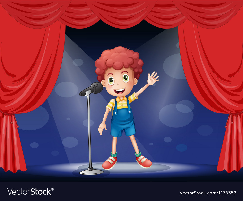 A boy performing on the stage vector | Price: 1 Credit (USD $1)