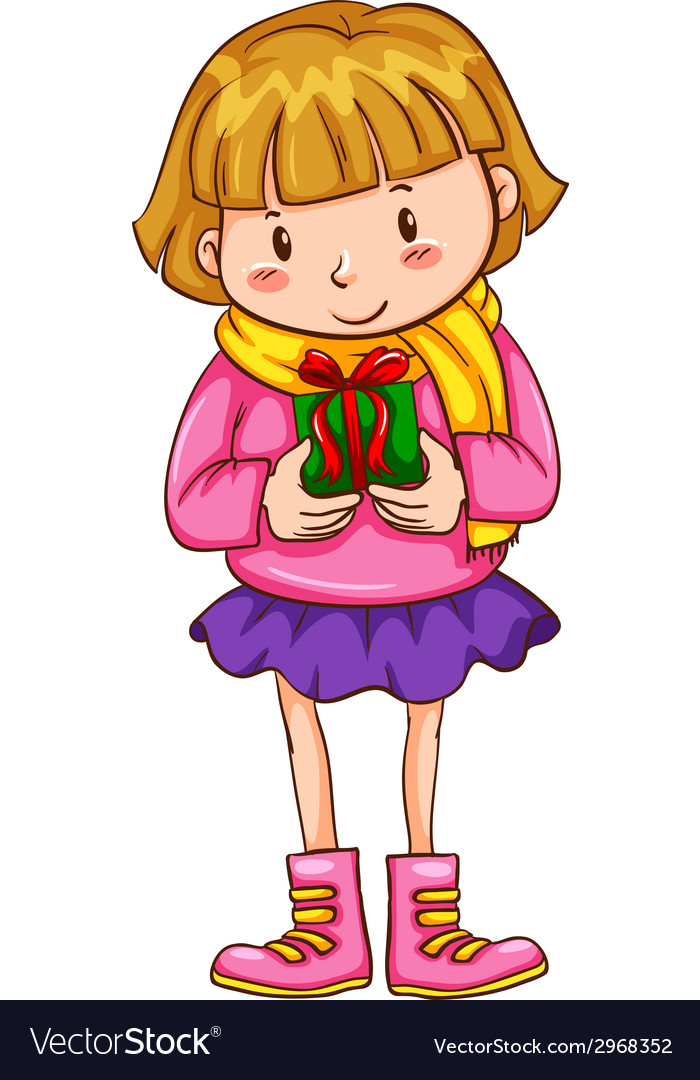 A simple sketch of a girl with a christmas gift vector | Price: 1 Credit (USD $1)