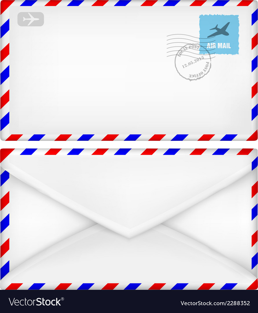 Airmail envelope with stamps vector | Price: 1 Credit (USD $1)