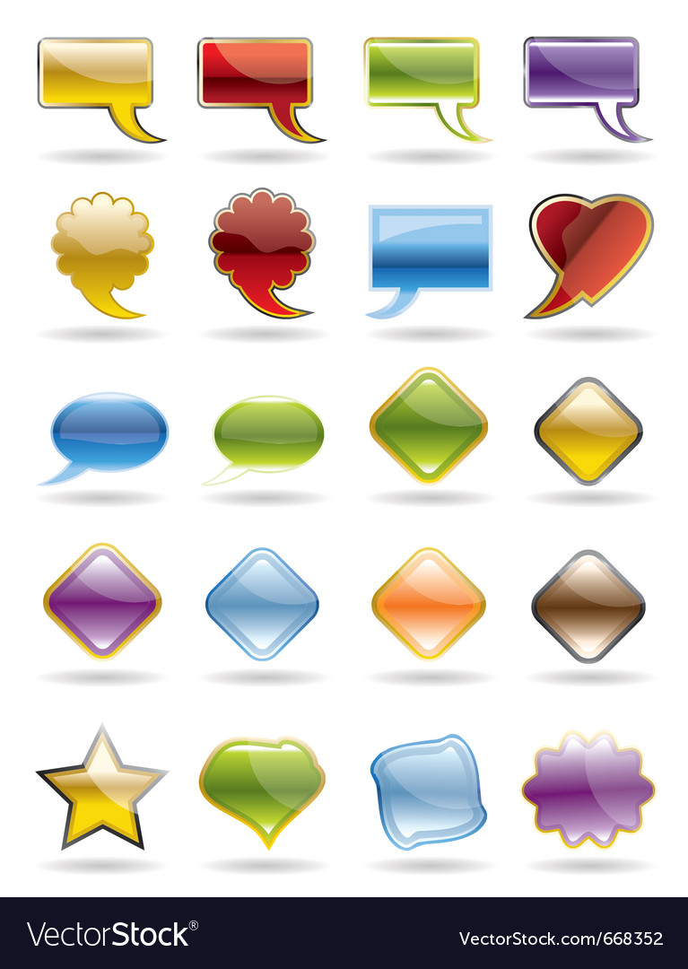 Collection of brightly colored glossy web element vector   Price: 1 Credit (USD $1)