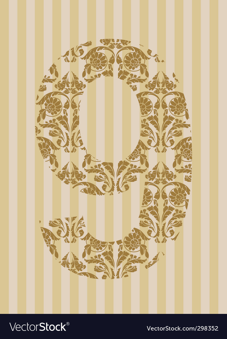 Floral font number vector | Price: 1 Credit (USD $1)
