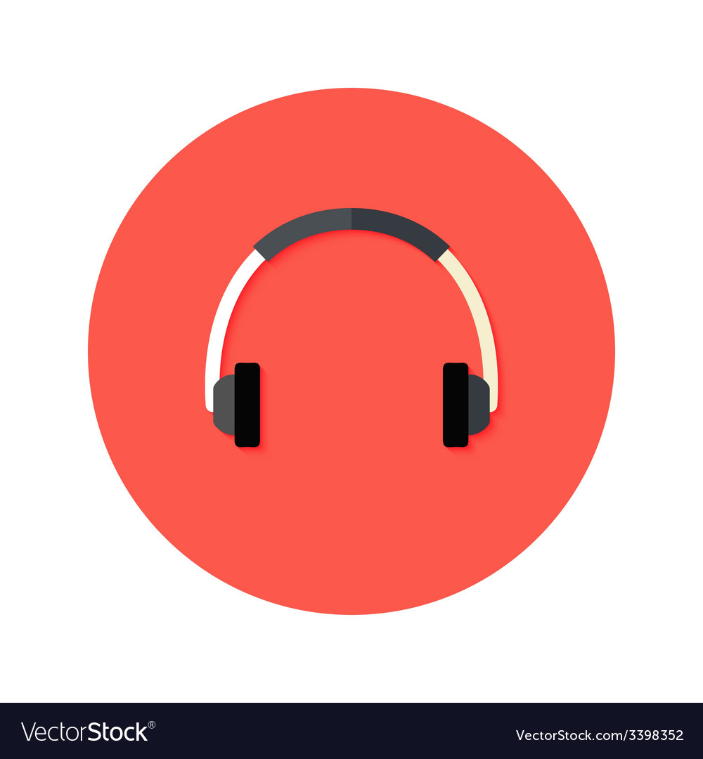 Headset flat circle icon vector | Price: 1 Credit (USD $1)