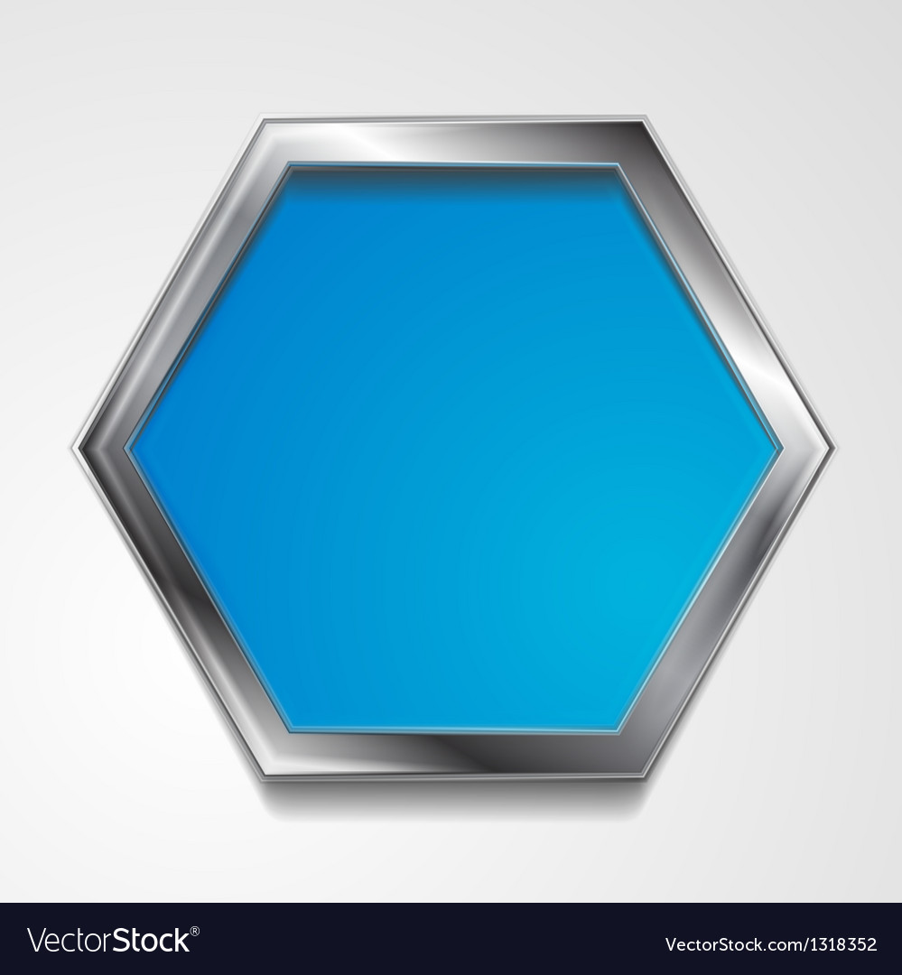 Hexagon shape with silver frame vector | Price: 1 Credit (USD $1)