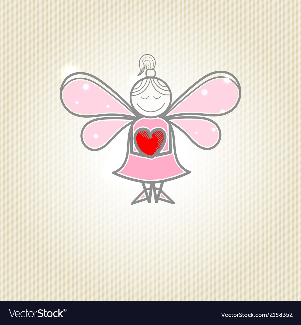 Little fairy with heart in hands vector | Price: 1 Credit (USD $1)