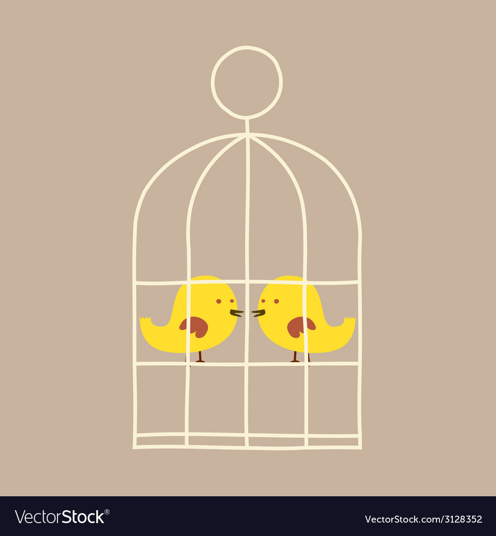 Lovely birds in cage vector | Price: 1 Credit (USD $1)