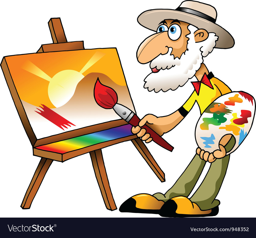 Old painter vector | Price: 1 Credit (USD $1)