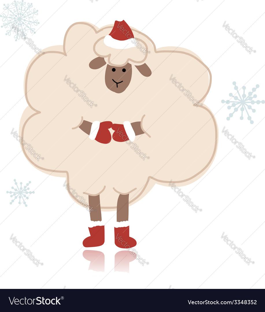 Sheep santa symbol of new year 2015 vector | Price: 1 Credit (USD $1)