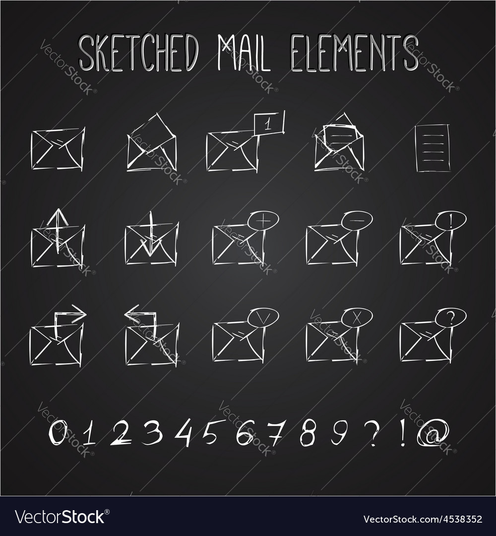 Sketched mail elements set vector | Price: 1 Credit (USD $1)