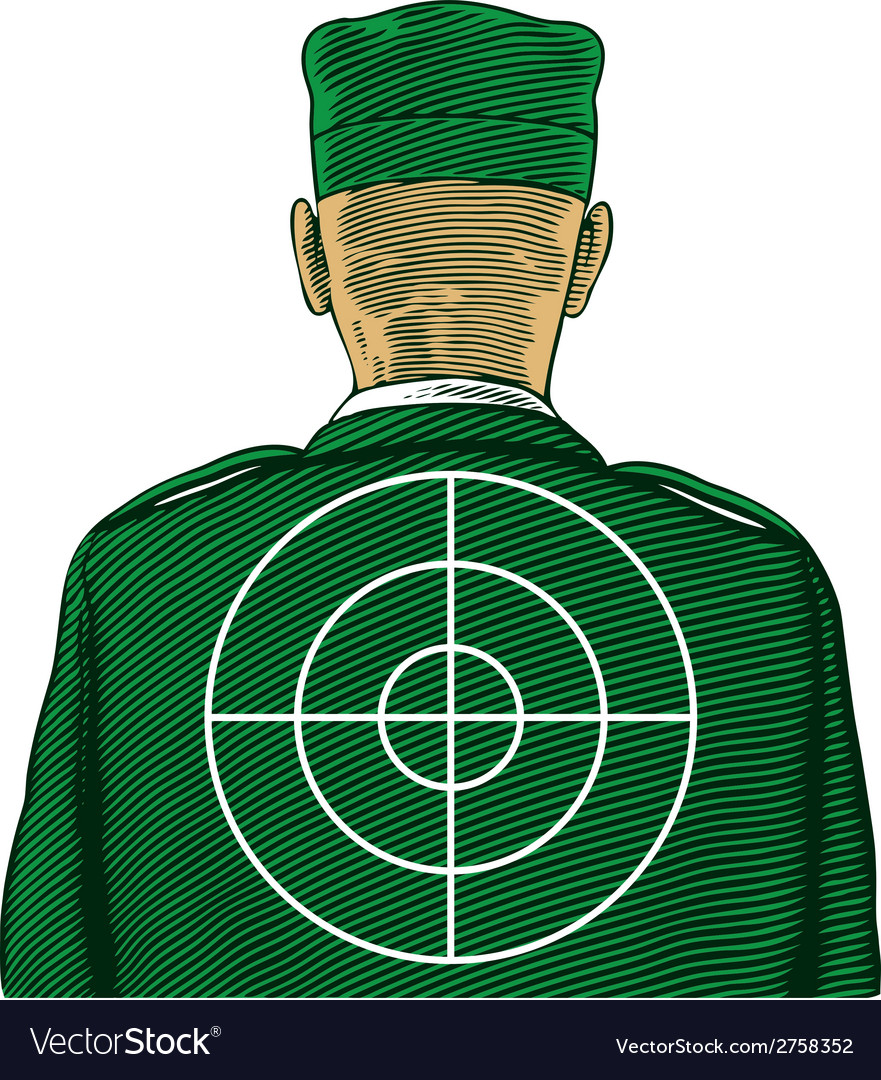 Soldier with target from back or rear view vector | Price: 1 Credit (USD $1)
