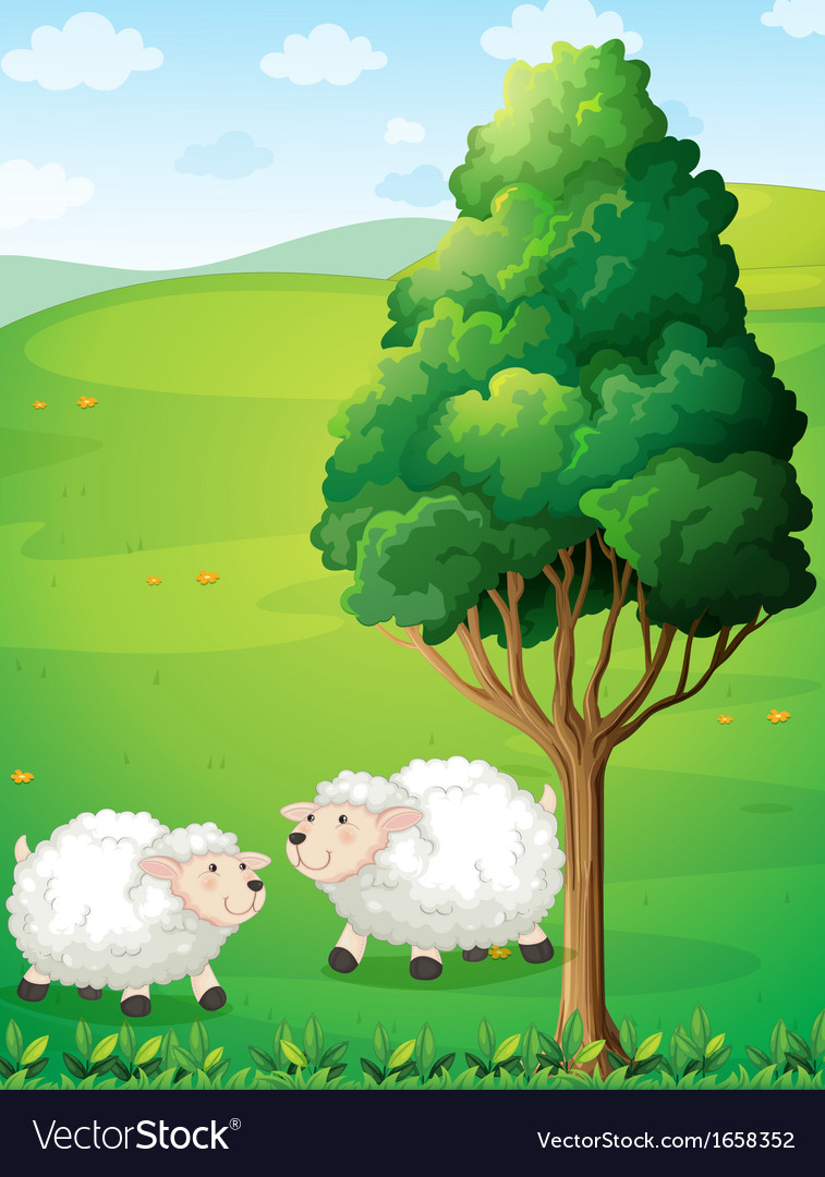 Two sheeps near the tree vector | Price: 3 Credit (USD $3)