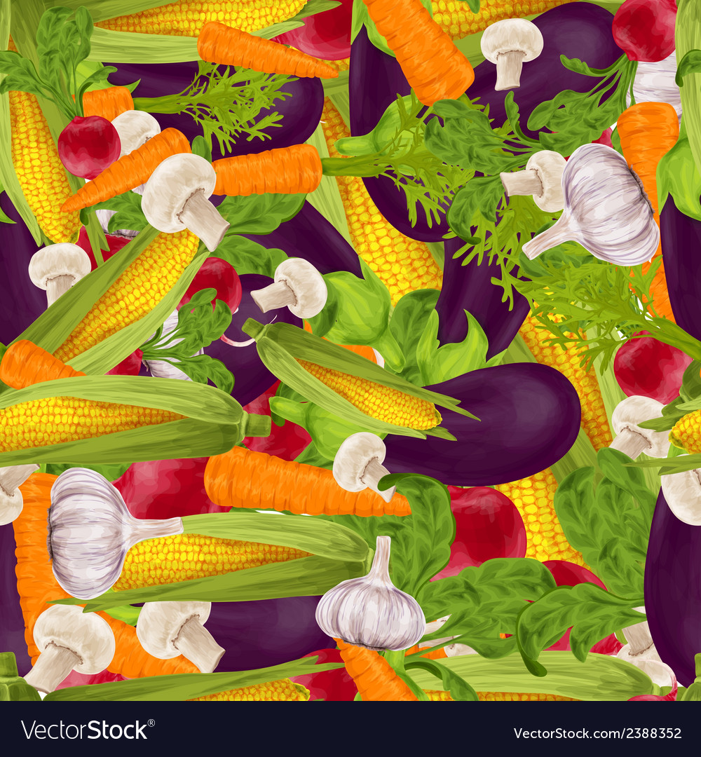 Vegetables realistic seamless background vector | Price: 1 Credit (USD $1)