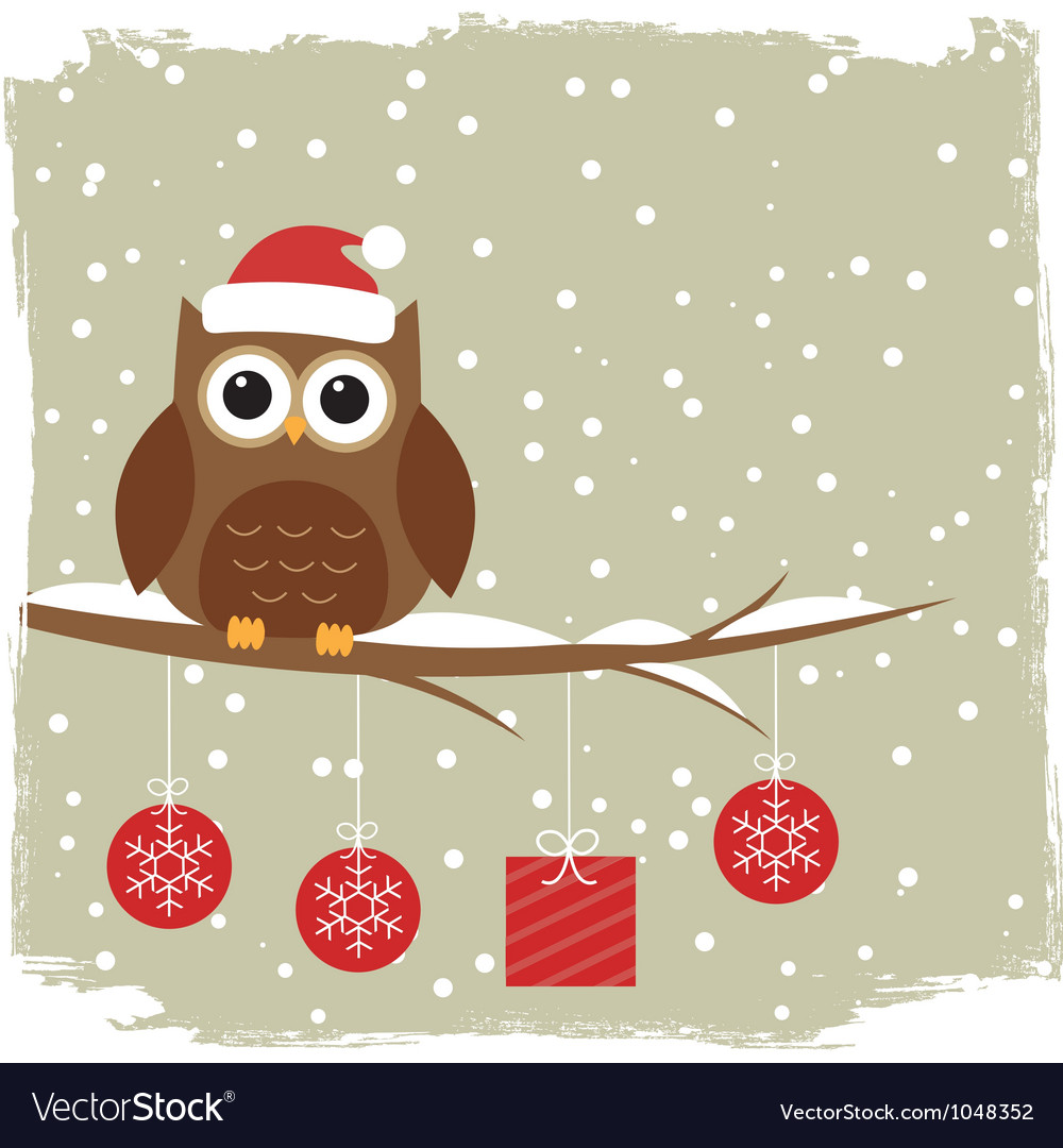 Winter card with cute owl vector   Price: 1 Credit (USD $1)