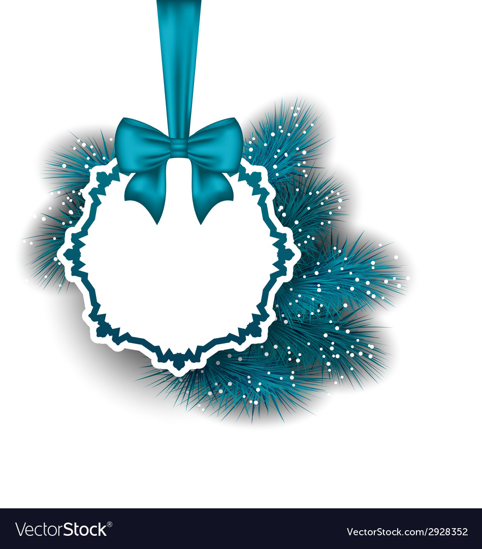 Xmas gift card with ribbon and fir branches vector | Price: 1 Credit (USD $1)