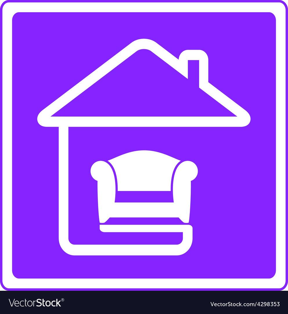 Armchair on home interior symbol vector | Price: 1 Credit (USD $1)
