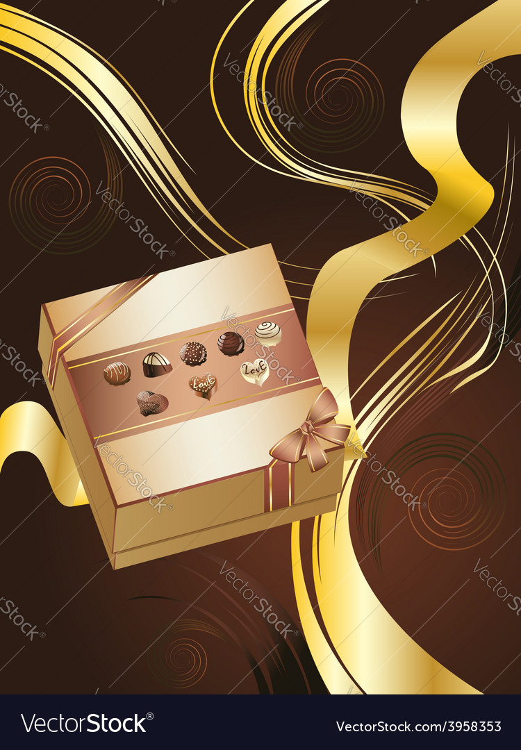 Brown background with chocolate box2 vector | Price: 3 Credit (USD $3)
