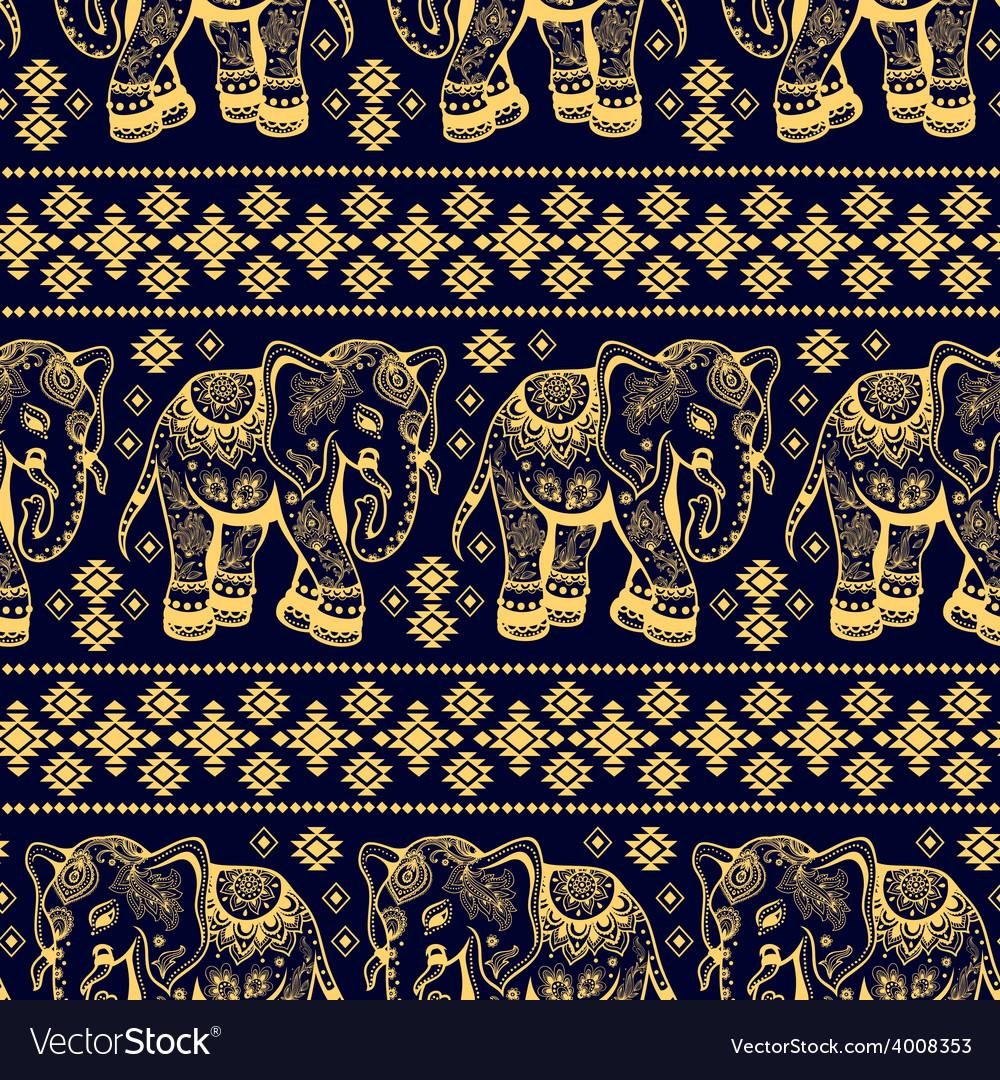 Ethnic elephant seamless vector   Price: 1 Credit (USD $1)