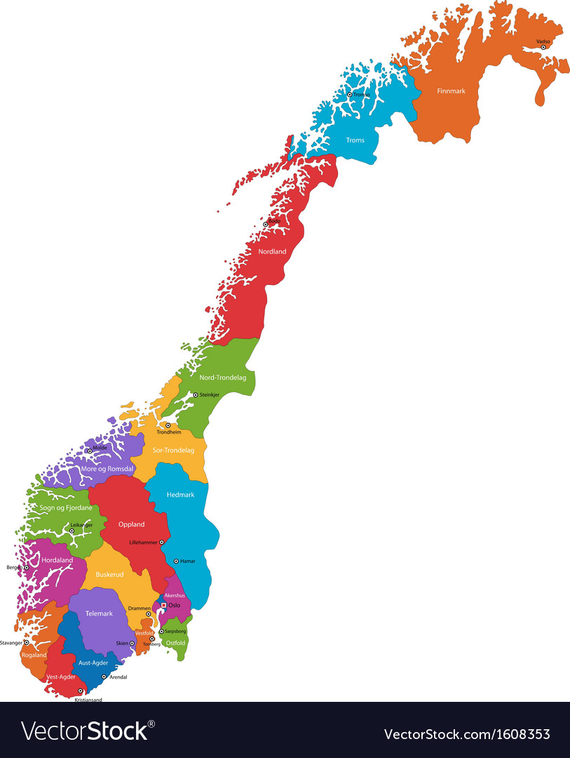 Norway map vector | Price: 1 Credit (USD $1)