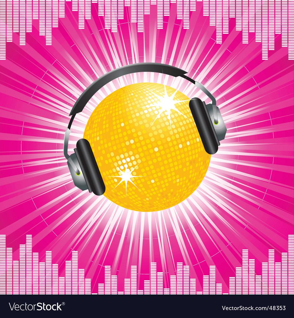 Orange disco ball and headphones vector | Price: 1 Credit (USD $1)