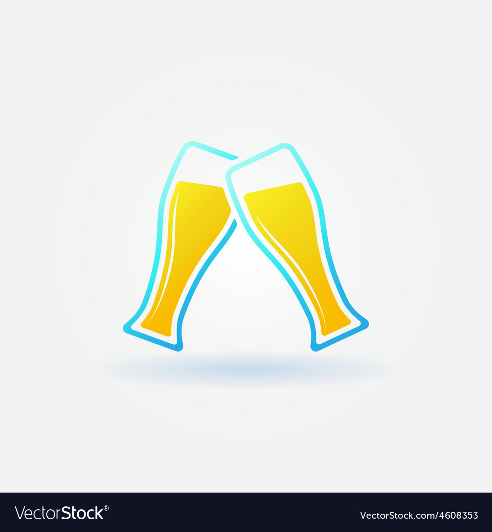 Two glasses of beer bright icon vector   Price: 1 Credit (USD $1)