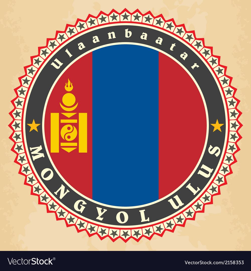 Vintage label cards of mongolia flag vector | Price: 1 Credit (USD $1)